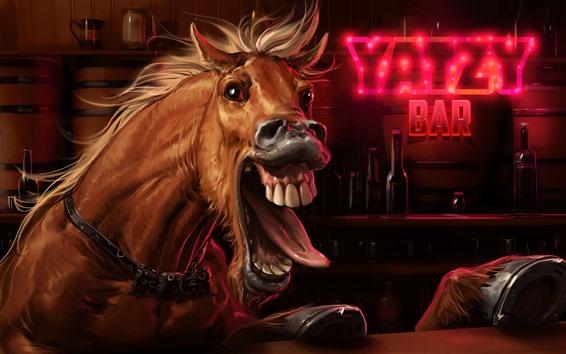 Обои Лошадь, бар, художественная фотография