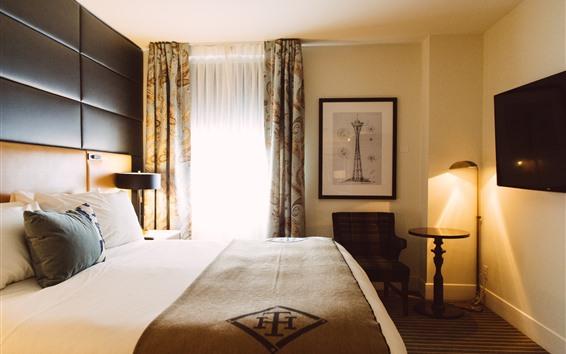 Обои Отель, спальня, кровать, свет