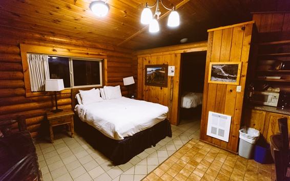 Wallpaper Hotel, bedroom, lights, bed, warm