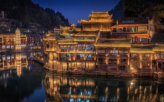 Fond d'écran Hunan, Chine, village, lumières, nuit, rivière