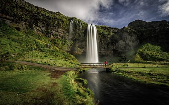 壁紙 アイスランド、セリャラントスフォス、滝、橋、川