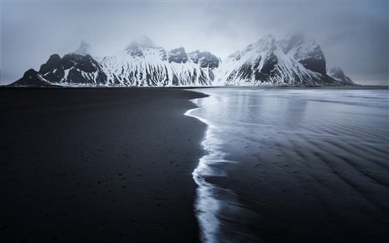 Papéis de Parede Islândia, praia, mar, inverno, montanhas, neve