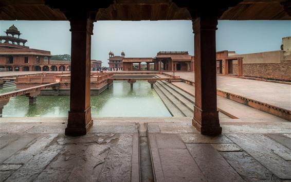 Wallpaper India, Agra, buildings, people