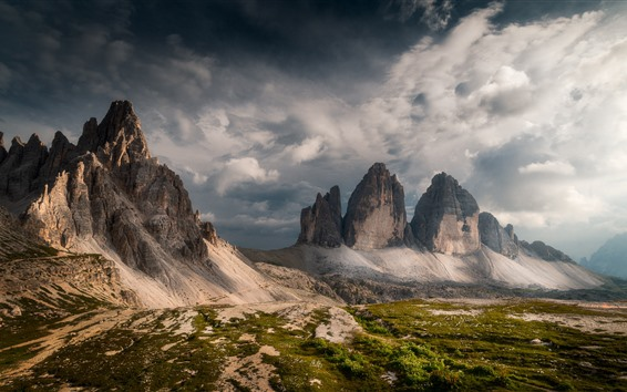 Wallpaper Italy, Dolomites, mountains, clouds, nature landscape