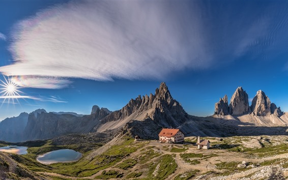 Wallpaper Italy, Dolomites, mountains, house, lake, sun, blue sky