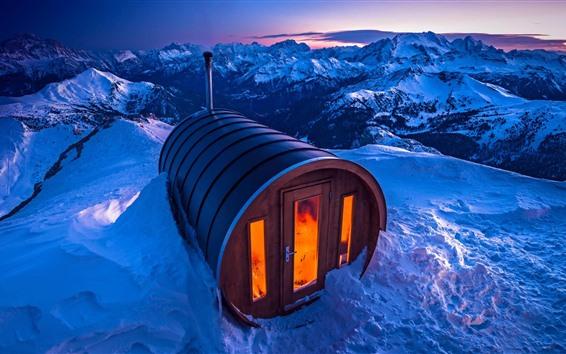Wallpaper Italy, Dolomites, sauna house, snow, winter