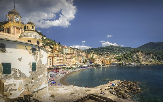 Wallpaper Italy, Liguria, Camogli, city, buildings, beach, people