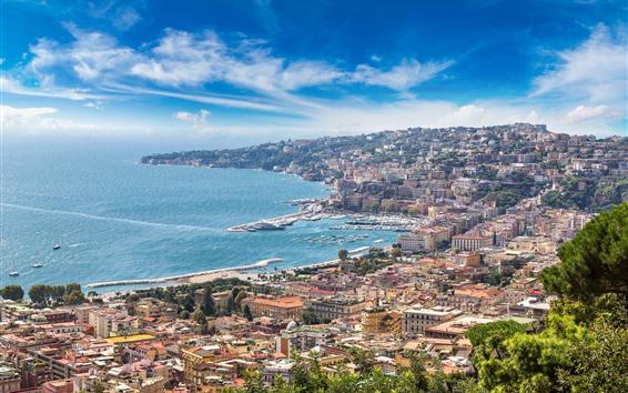Wallpaper Italy, Naples, Sorrento, city view, coast, sea