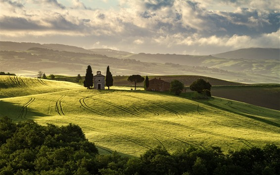 Wallpaper Italy, Pienza, Tuscany, green fields, trees, clouds
