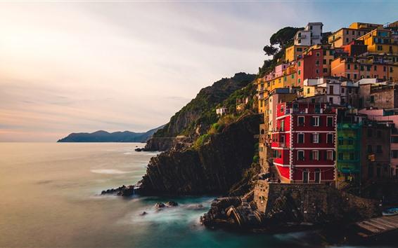 Papéis de Parede Itália, riomaggiore, liguria, mar, vila, penhasco, manhã