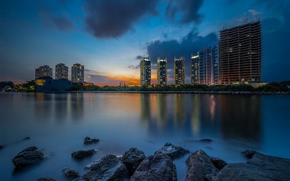 Papéis de Parede Jakarta, indonésia, cidade, edifícios, rio, pedras, noturna