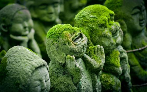 Wallpaper Japan, Kyoto, ancient statues, moss