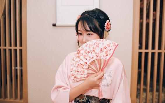 Wallpaper Japanese girl, kimono, paper fan, show half face