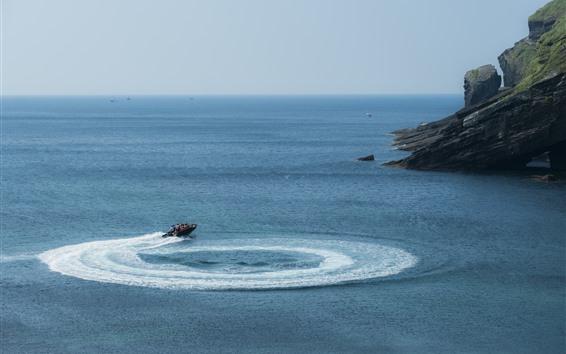 Papéis de Parede Ilha de Jeju, lindo mar, barco