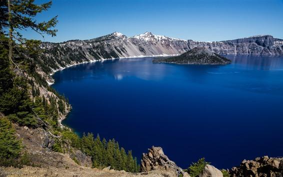 Wallpaper Lake, blue water, mountains, island, snow