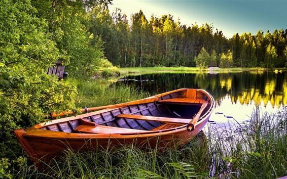 Fondos de pantalla Lago, bote, árboles, hierba
