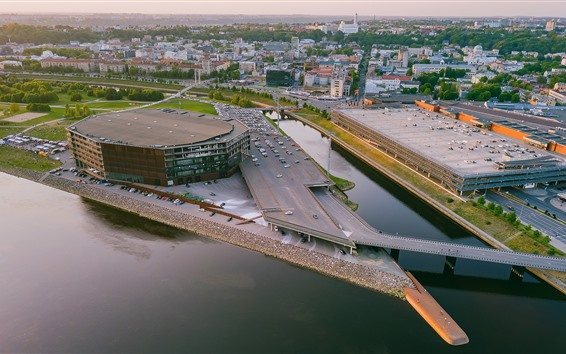 Wallpaper Lithuania, Kaunas, city, cars, river, Zalgiris Arena