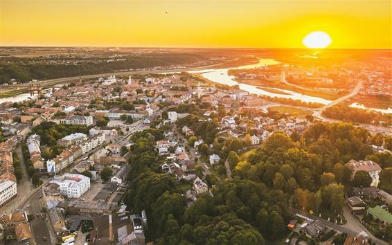 Wallpaper Lithuania, Kaunas, cityscape, top view, sunset