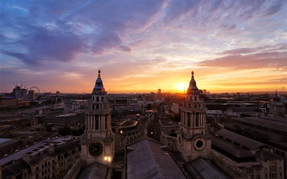 Wallpaper London, city, dusk, houses, UK