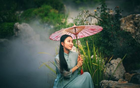 Wallpaper Long hair Chinese girl, retro style, umbrella