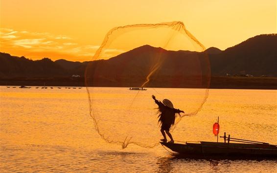 Fondos de pantalla Lvjiang Village, pescador, río, mañana