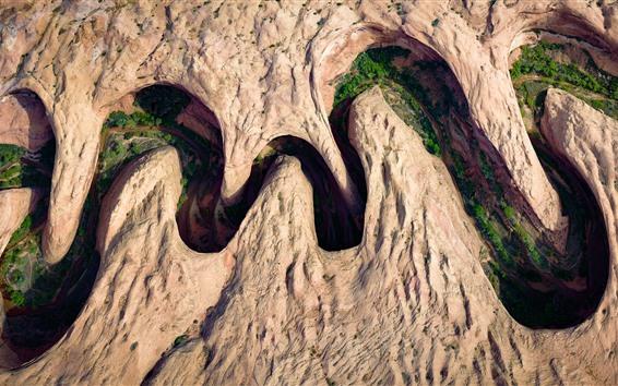 Обои Меандерный Каньон, скалы, река, вид сверху, Юта, США