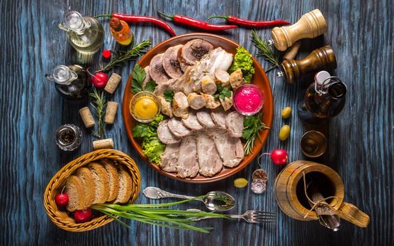 Wallpaper Meat cuts, bread, food