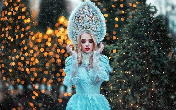 Fondos de pantalla Chica modelo, falda azul princesa, cubierto de nieve