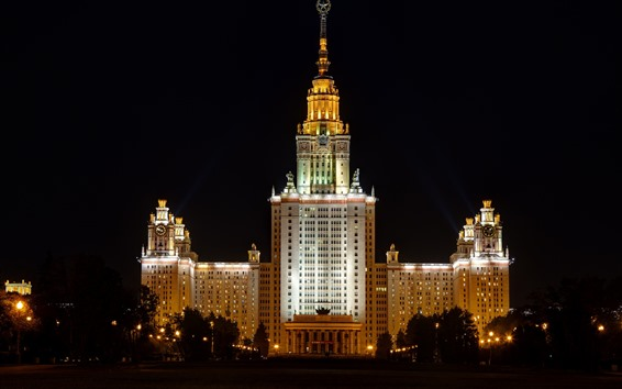 Wallpaper Moscow, University, buildings, night, lights