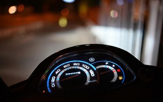 Papéis de Parede Placa de velocidade de motocicleta, luzes, noite