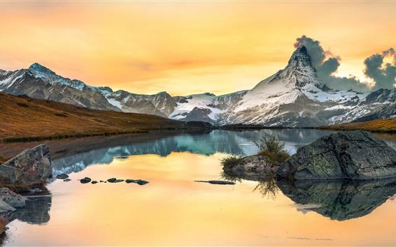 壁紙 山、湖、岩、秋