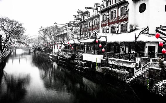 Papéis de Parede Nanjing, nevando, inverno, rio, casa, estilo retro