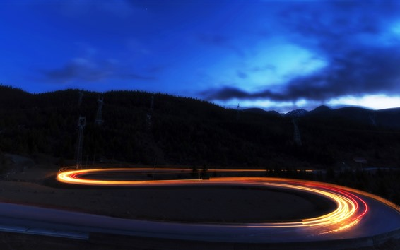 Wallpaper Night, bend road, light lines