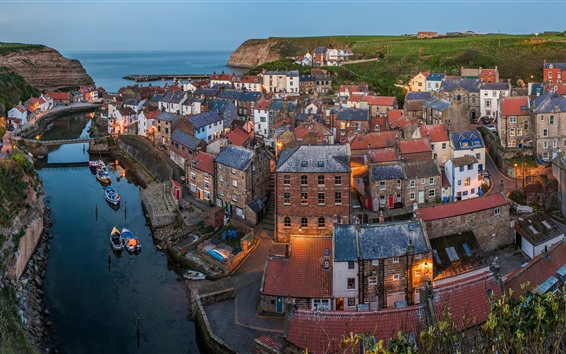 Wallpaper North Sea, North Yorkshire, England, village, houses, river, dusk