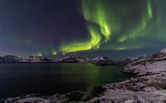 Обои Северный свет, ночь, море, горы, снег, зима