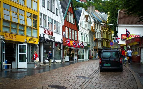 Papéis de Parede Noruega, rua da cidade, casas, bandeiras