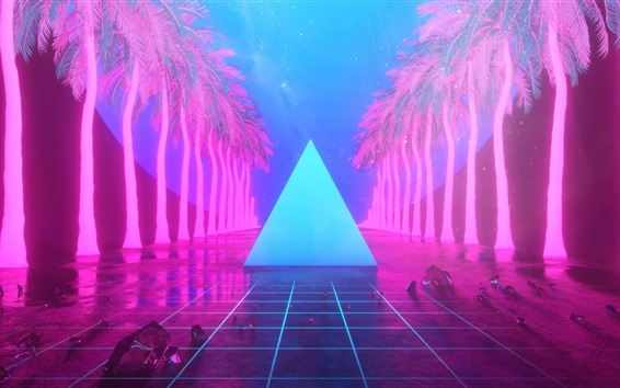 Wallpaper Palm trees, triangle, neon, art design