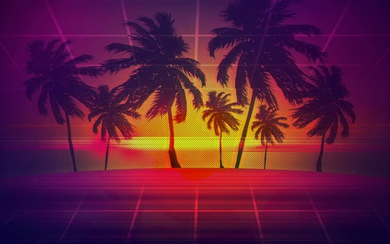 Wallpaper Palm trees, wire fence, art picture
