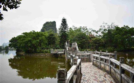 Wallpaper Park, lake, trees, stone bridge