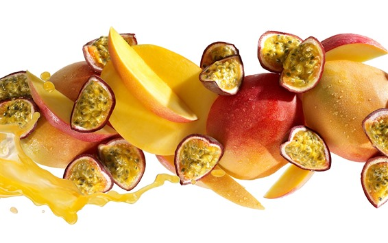 Wallpaper Passion fruit, mango, apple, slices