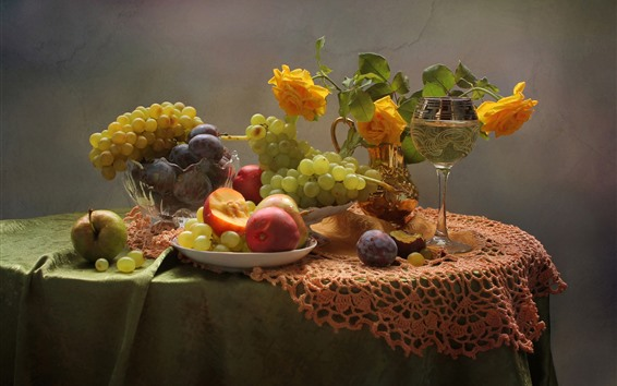 Wallpaper Peach, grapes, plums, yellow rose, wine