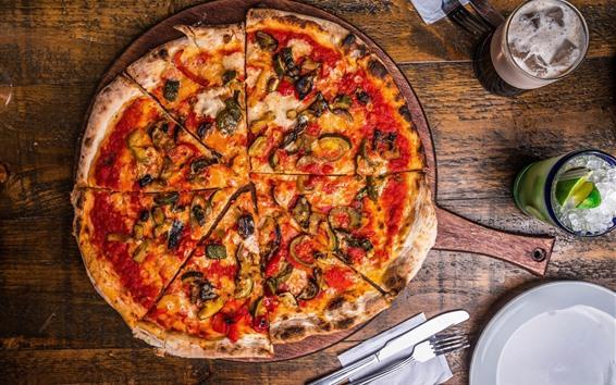 Fond d'écran Tarte, pizza, nourriture, boissons