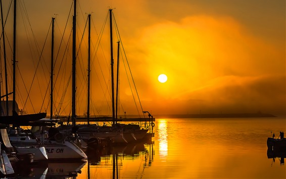Обои Причал, яхта, закат, море