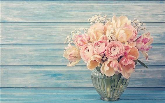 Papéis de Parede Flores cor de rosa, ranúnculo