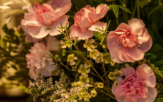 Wallpaper Pink roses and other flowers