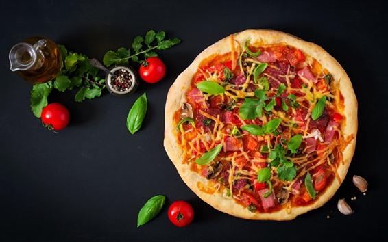 Fond d'écran Pizza, tarte, tomates, huile