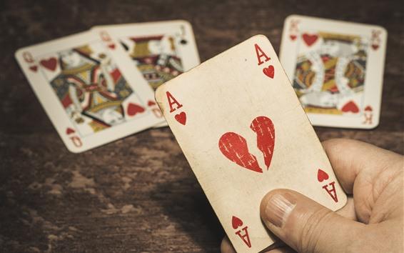 Fondos de pantalla Jugar cartas, A, corazón de amor