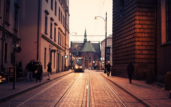 Wallpaper Poland, Krakow, tram, church, city, street
