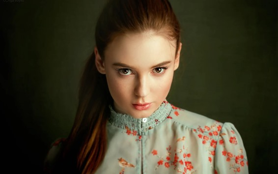 Wallpaper Pure young girl, hairstyle