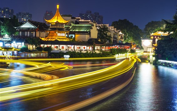 Wallpaper Qinhuai River, Nanjing, beautiful night view, lighting